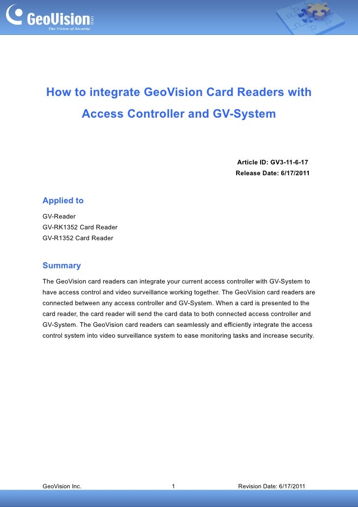 How to integrate GeoVision Card Readers with                 Access Controller and GV-System                              ...