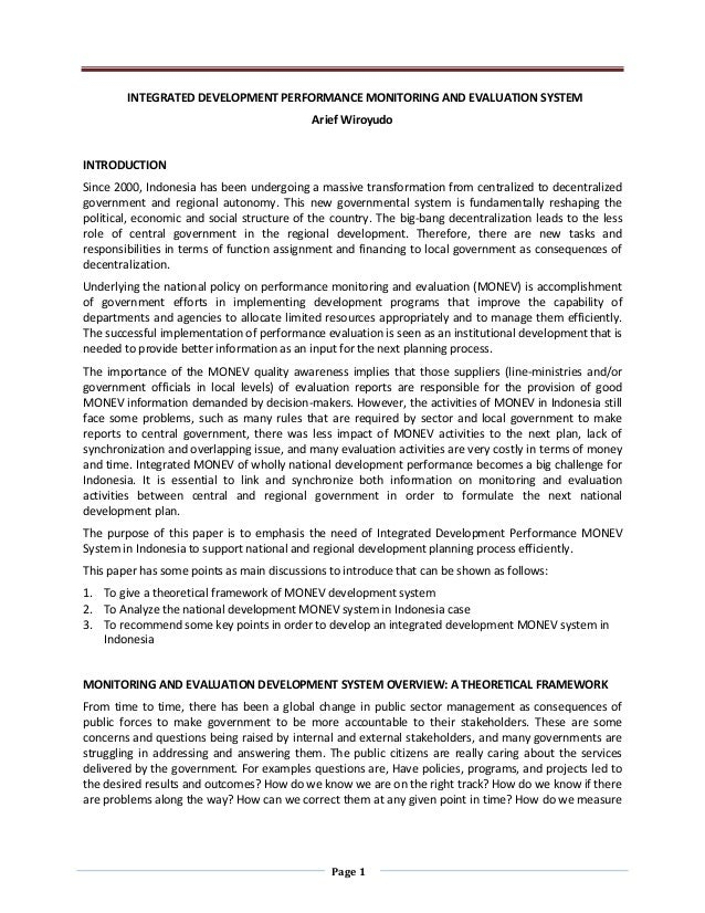 Integrated Development Performance Monitoring and Evaluation System in Indonesia to Support National Development Planning Process