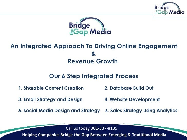 See our proven 6 step integrated on-line marketing approach.  Content creation (video, email, blog posts)  database organization, email marketing design and execution,   website design, social media profile build-out,  sales strategy using analytics.