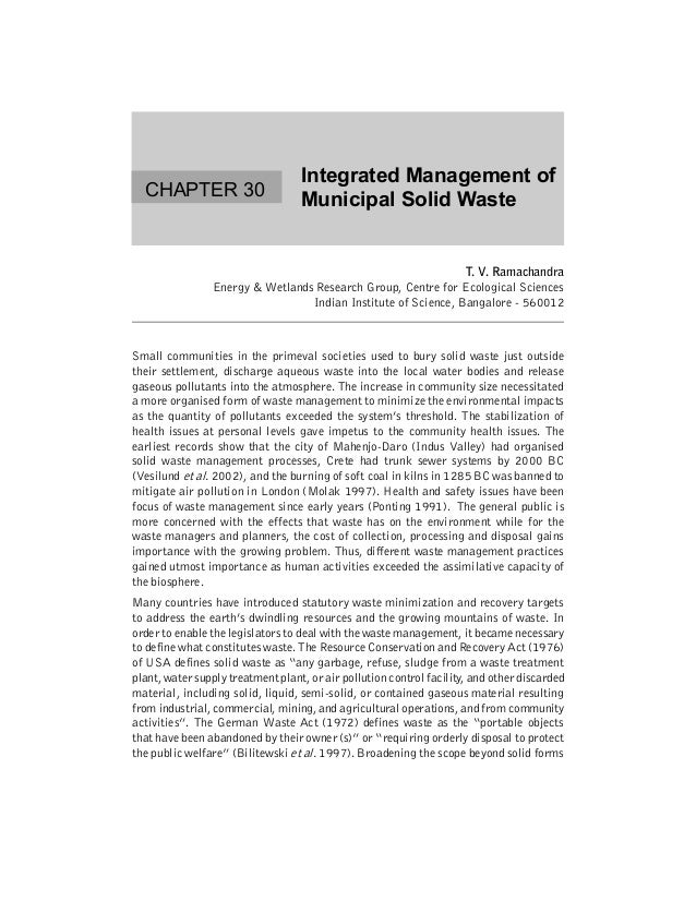 Integrated Management of  CHAPTER 30                                   Municipal Solid Waste                              ...