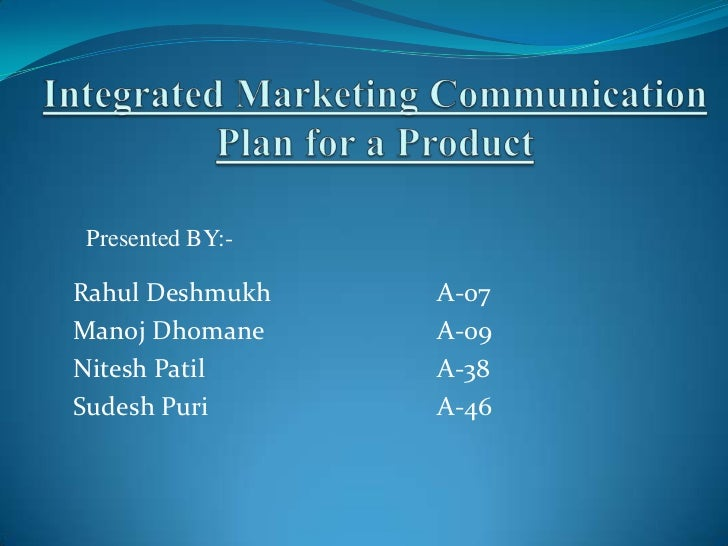 Integrated marketing communication plan for a product(1)