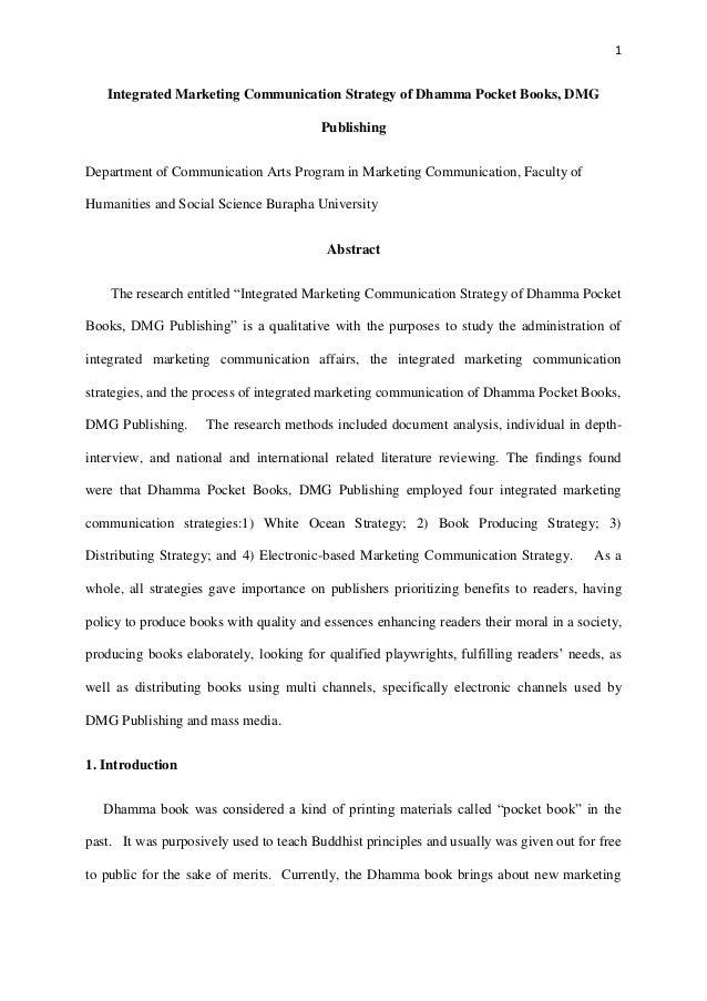 1 Integrated Marketing Communication Strategy of Dhamma Pocket Books, DMG Publishing Department of Communication Arts Prog...