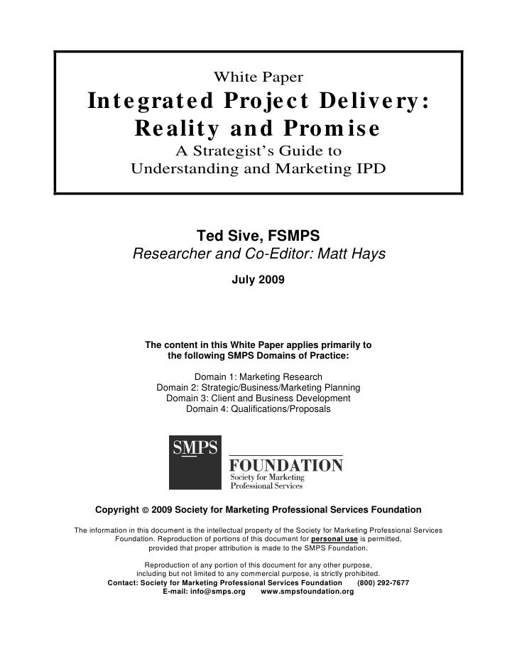 Integrated Project Delivery   White Paper