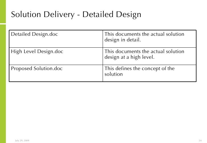 integrated project management and solution delivery process With solution approach document template