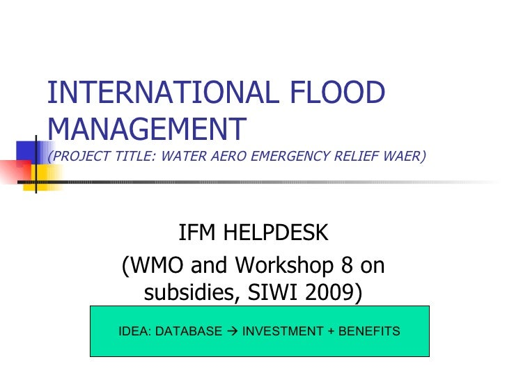 Integrated water resource management (IWRM)
