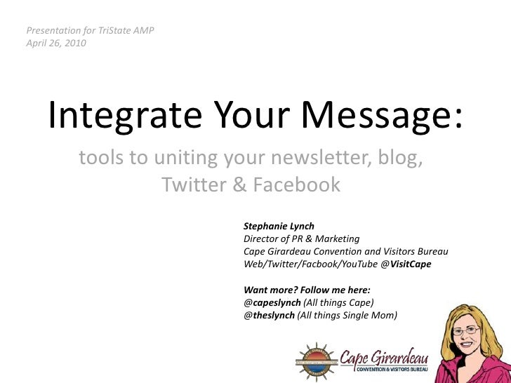 Presentation for TriState AMP<br />April 26, 2010<br />Integrate Your Message:<br />tools to uniting your newsletter, blog...