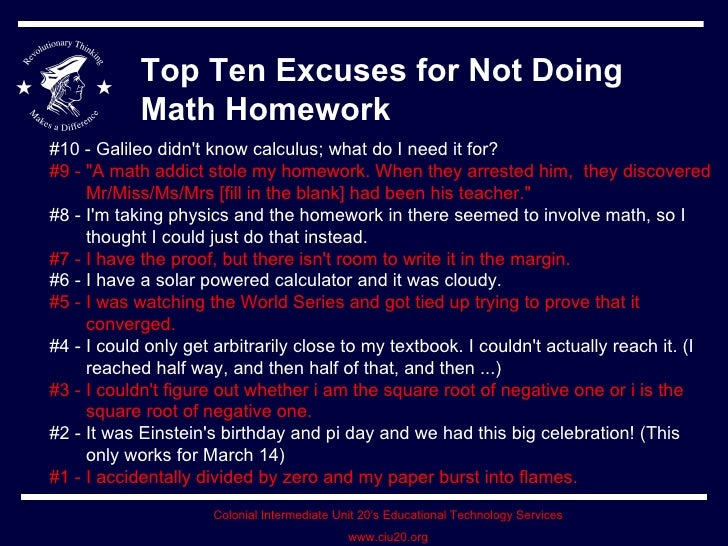 Creative excuses for not doing homework