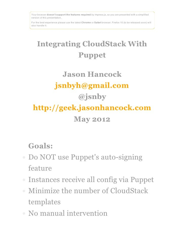 Integrating cloud stack with puppet