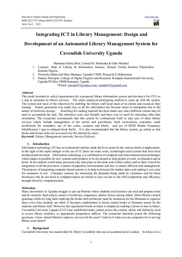 Dissertation library automation