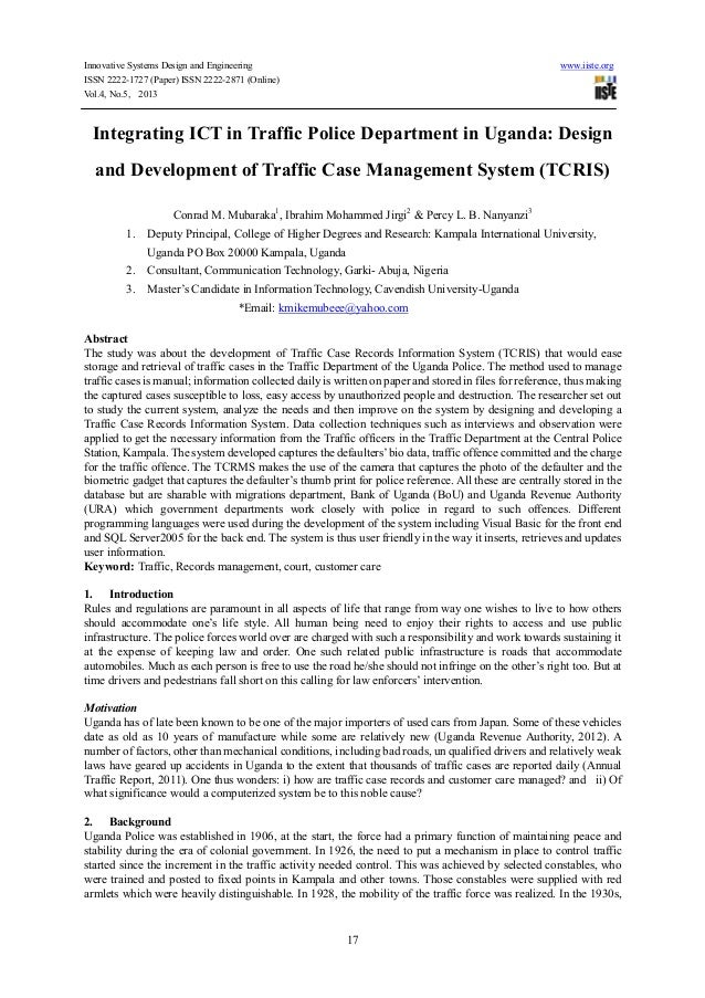 Integrating ict in traffic police department in uganda design and development of traffic case management system (tcris)