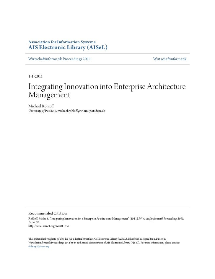 Integrating innovation into_enterprise_architecture