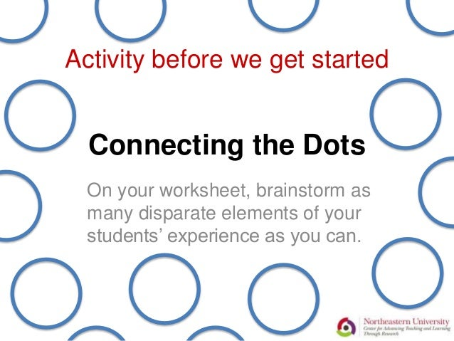 Connecting the Dots On your worksheet, brainstorm as many disparate elements of your students' experience as you can. Acti...