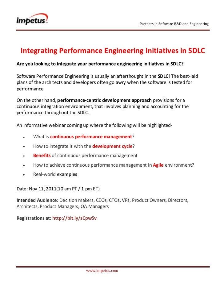 Integrating Performance Enginnering Initiatives in SDLC