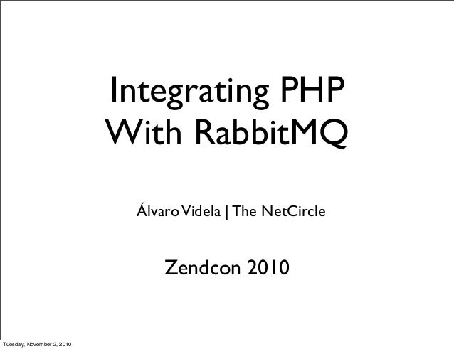 Integrating PHP With RabbitMQ ÁlvaroVidela | The NetCircle Zendcon 2010 Tuesday, November 2, 2010