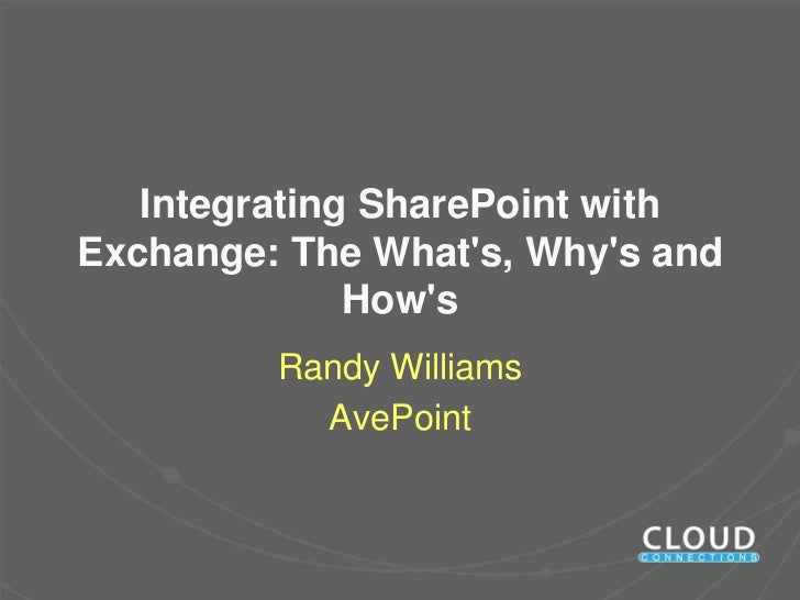 Integrating SharePoint withExchange: The Whats, Whys and              Hows         Randy Williams           AvePoint