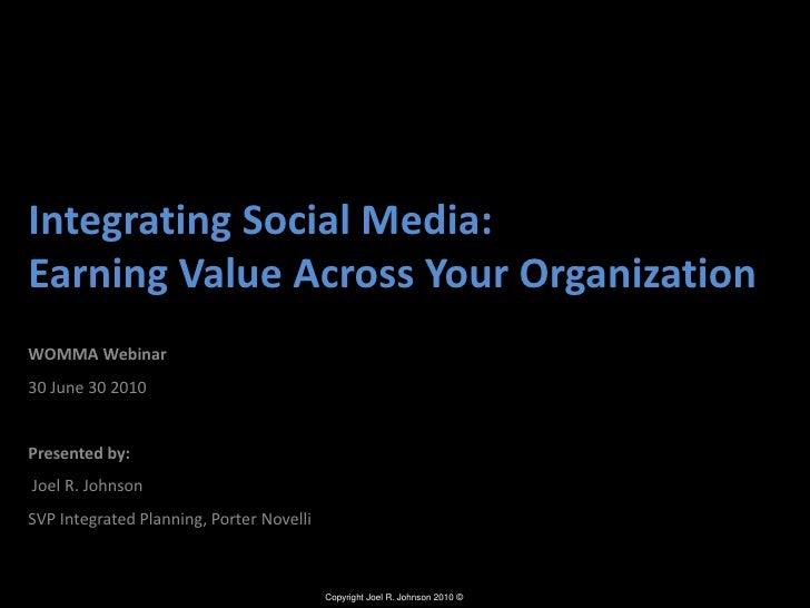 Integrating Social Media: Earning Value Across Your Organization<br />WOMMA Webinar <br />30 June 30 2010<br />Presented b...