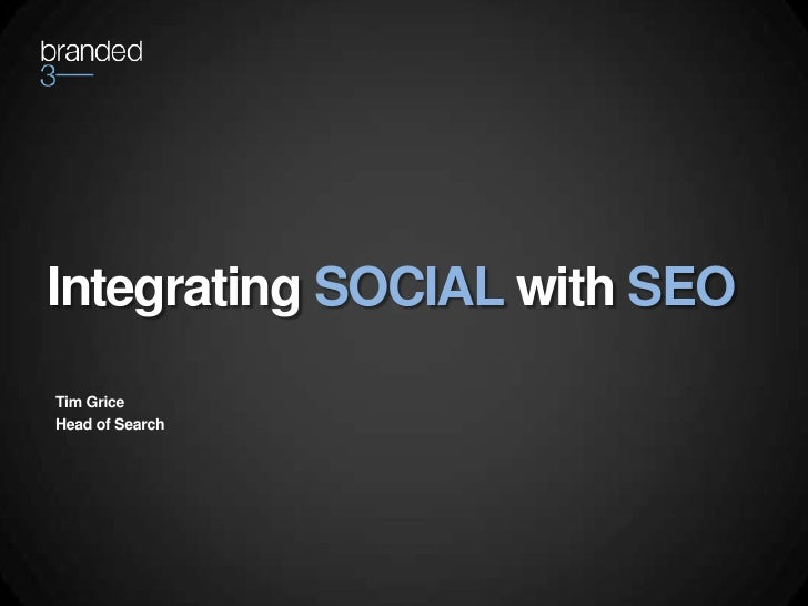 Integrating social with seo   internet world by Tim Grice
