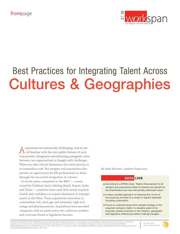 Integrating Talent Across Cultures