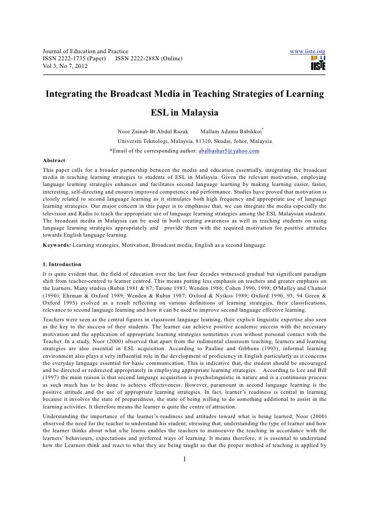 Integrating the broadcast media in teaching strategies of learning esl in malaysia