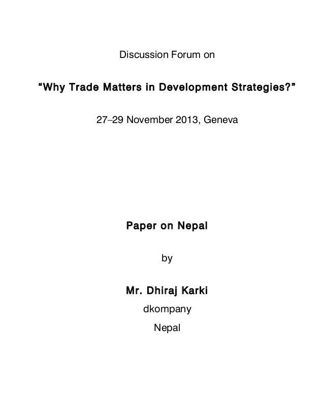 Integrating Trade in Nepal's Development Strategies
