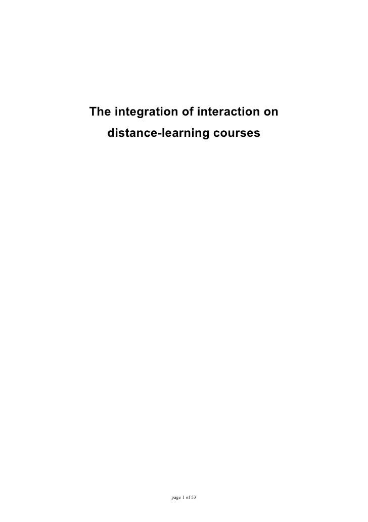 The integration of interaction on    distance-learning courses                   page 1 of 53