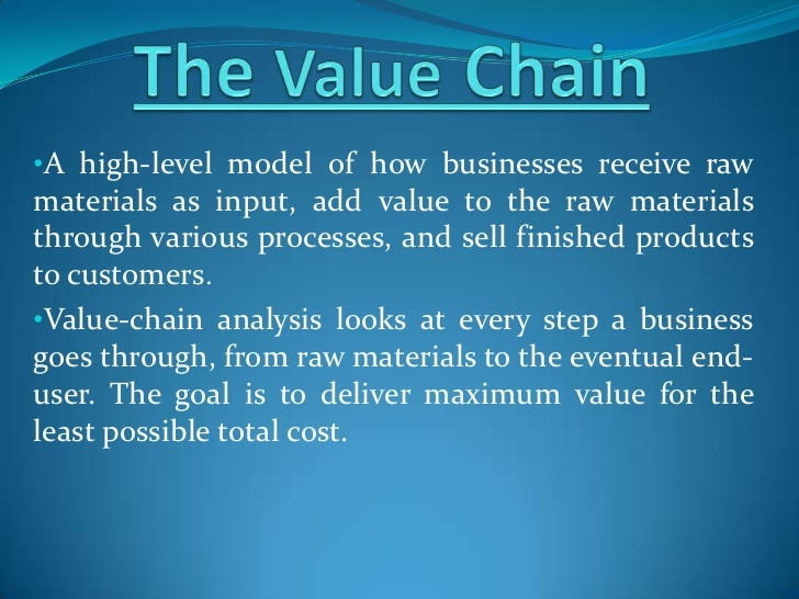 •A high-level model of how businesses receive rawmaterials as input, add value to the raw materialsthrough various process...