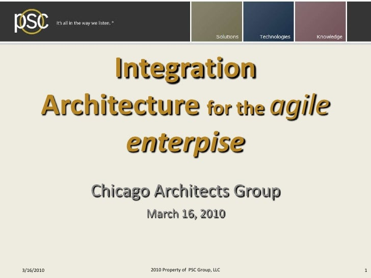 Integration Architecture for the agile enterpise<br />Chicago Architects Group<br />March 16, 2010<br />2010 Property of  ...