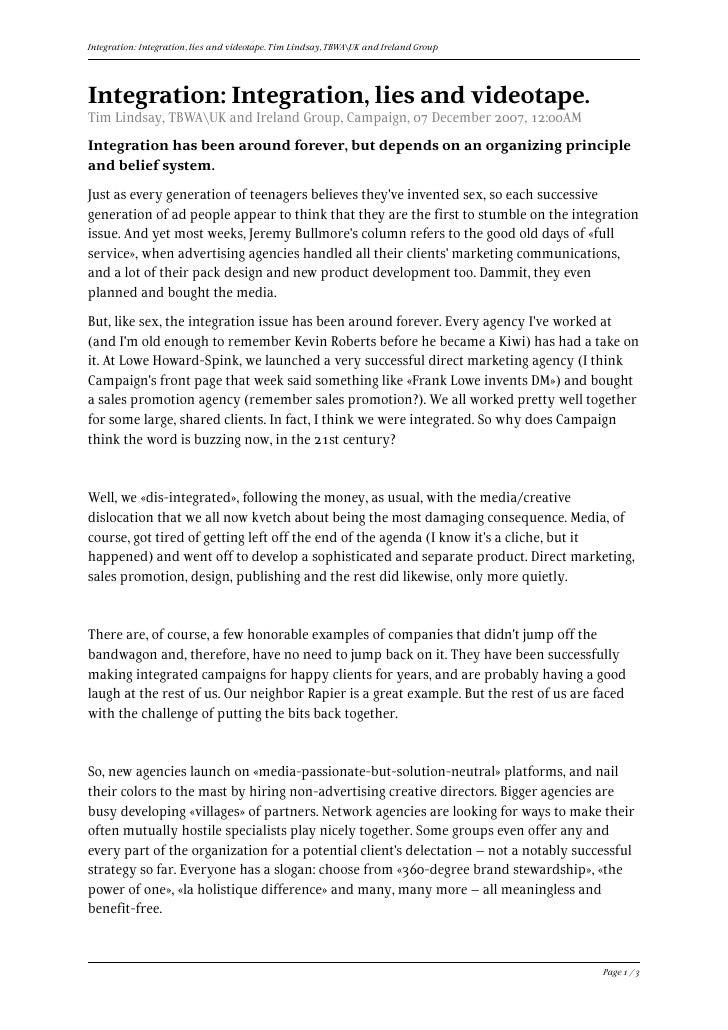 Integration: Integration, lies and videotape. Tim Lindsay, TBWAUK and Ireland Group     Integration: Integration, lies and...