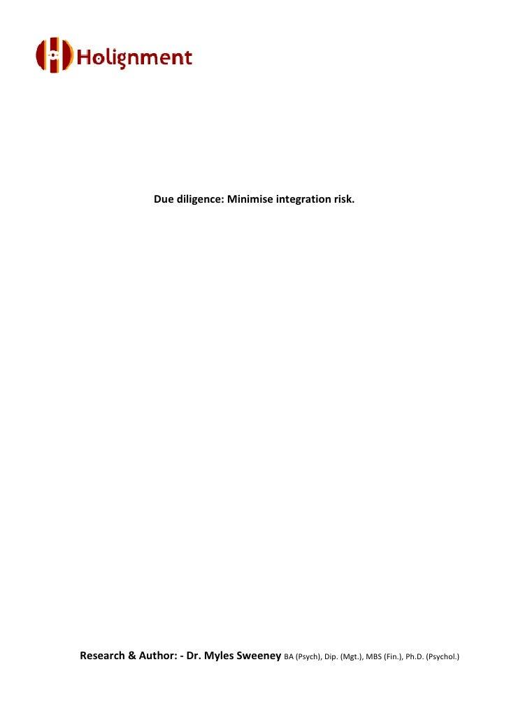 Integration due diligence