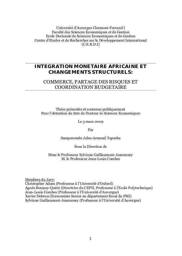 1 Universit€ d'Auvergne Clermont-Ferrand I Facult€ des Sciences Economiques et de Gestion Ecole Doctorale de Sciences Econ...