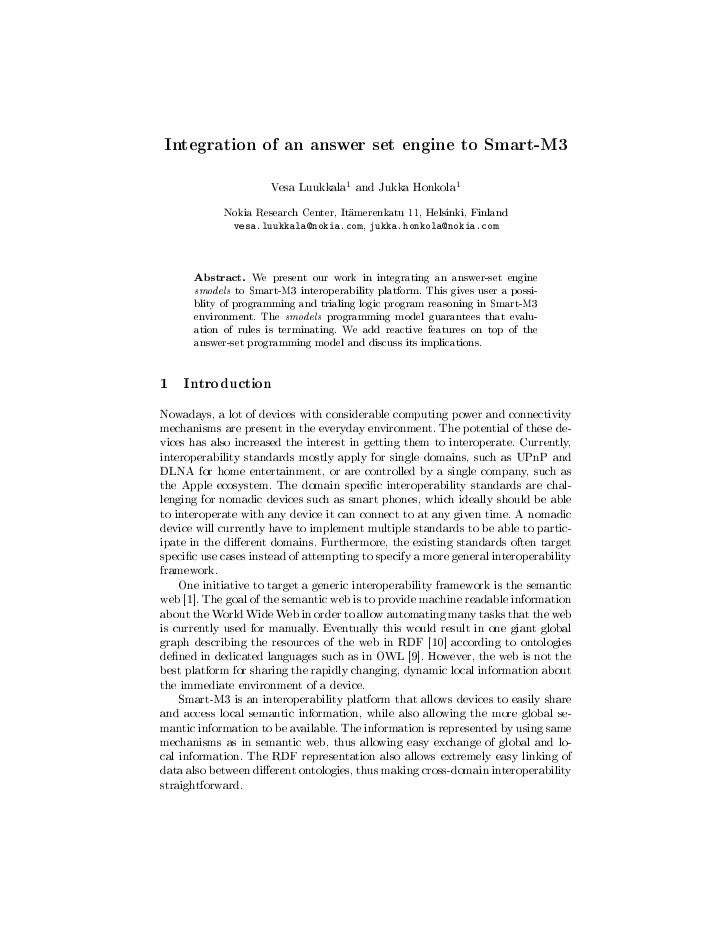 Integration of an answer set engine to Smart-M3                                      1                       1            ...