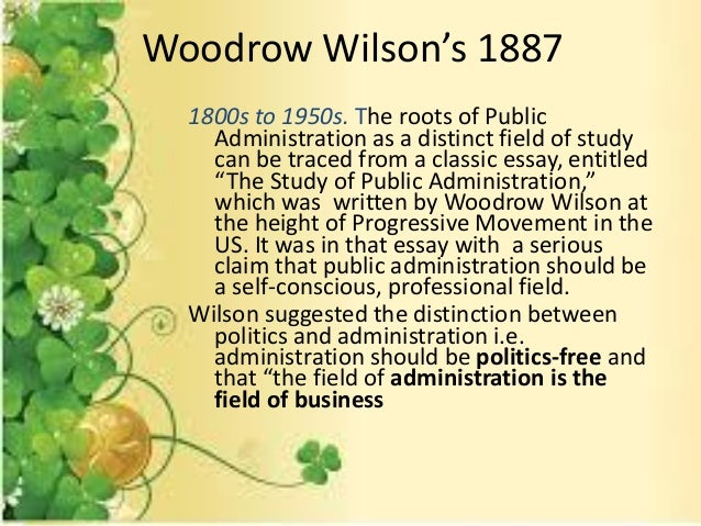 woodrow wilsons 1887 essay