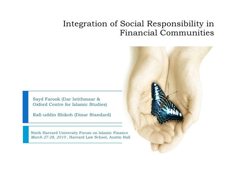 Integration Of Social Responsibility In Financial Communities