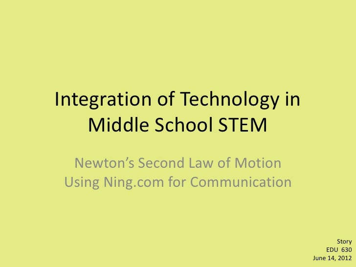 Integration of Technology in    Middle School STEM  Newton's Second Law of Motion Using Ning.com for Communication        ...