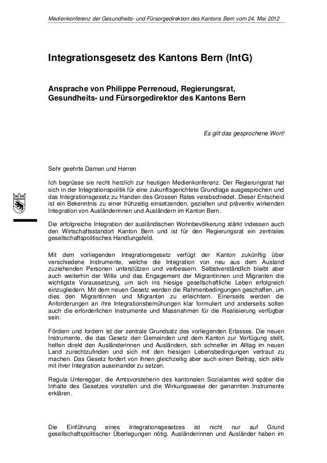 Medienkonferenz der Gesundheits- und Fürsorgedirektion des Kantons Bern vom 24. Mai 2012Integrationsgesetz des Kantons Ber...