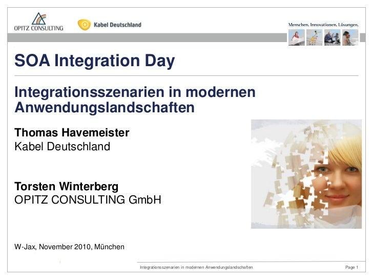 SOA Integration DayIntegrationsszenarien in modernenAnwendungslandschaftenThomas HavemeisterKabel DeutschlandTorsten Winte...