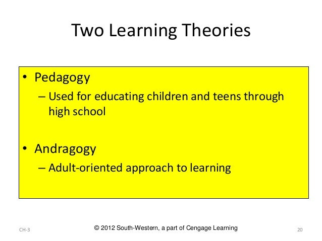 andragogy vs. pedagogy essay Andragogy - the explanation of adults' motivation and disposition to learning  self-directed learning  the pedagogical implications of this assumption are that.