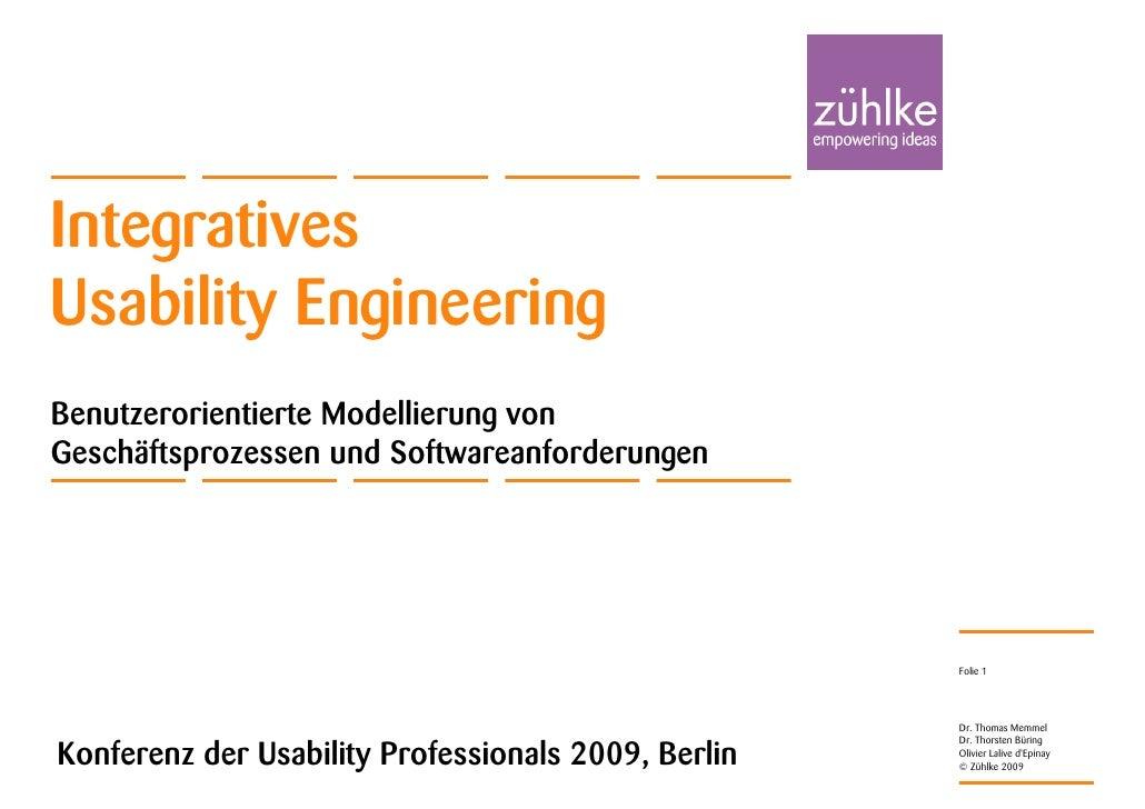 IntegrativesUsability EngineeringBenutzerorientierte Modellierung vonGeschäftsprozessen und Softwareanforderungen         ...