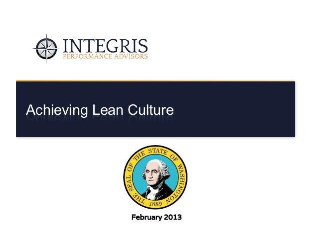 Integris - Achieving Lean Culture in Washington