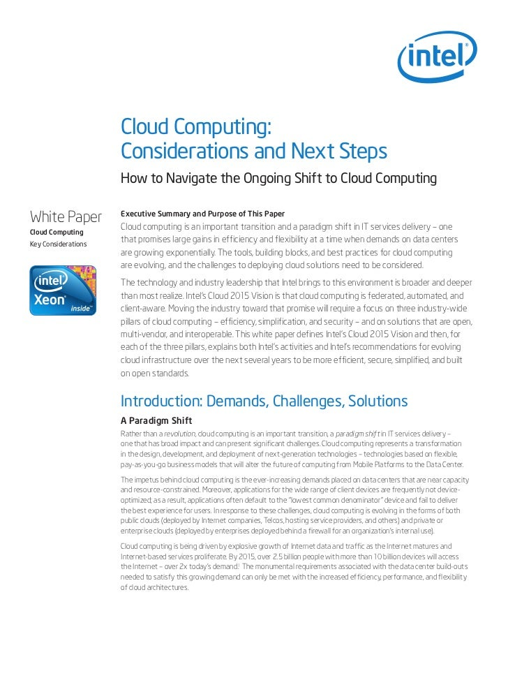 Cloud Computing:                     Considerations and Next Steps                     How to Navigate the Ongoing Shift t...