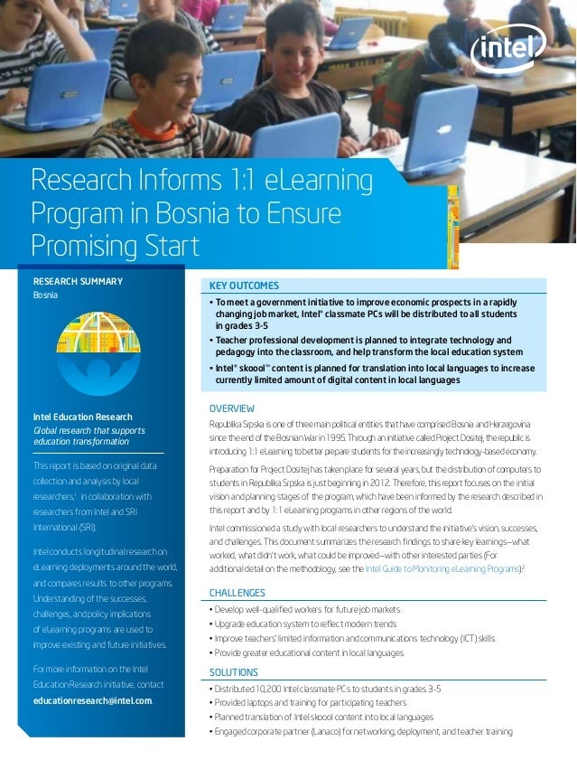 Research Informs 1:1 eLearning Program in Bosnia to Ensure Promising Start key outcomes • To meet a government initiative ...