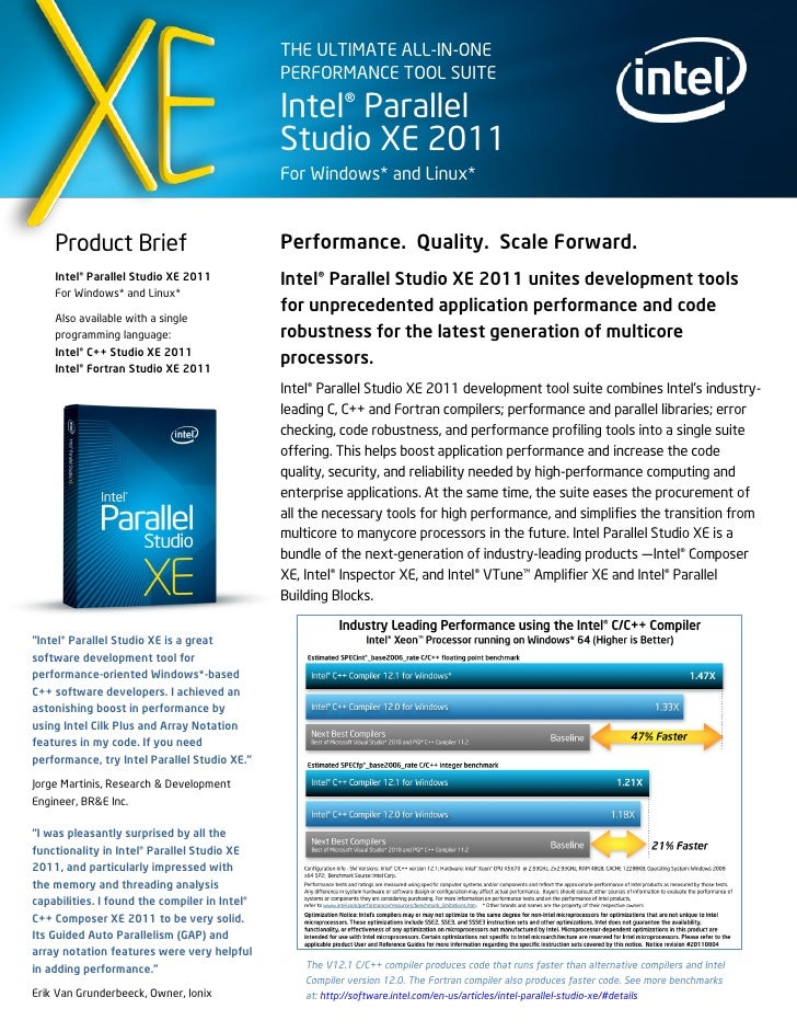 Intel Parallel Studio XE SP1 Information