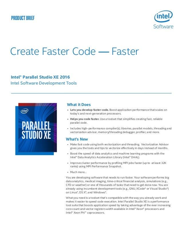 Intel Parallel Studio XE 2016 網路開發工具包新版本功能