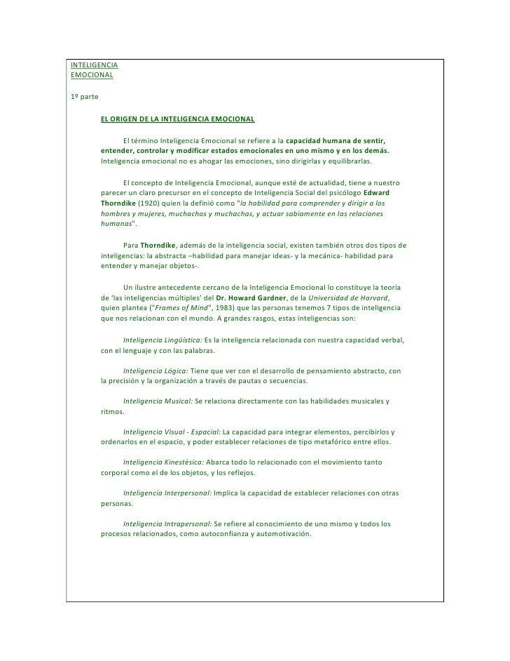 INTELIGENCIAEMOCIONAL1º parte           EL ORIGEN DE LA INTELIGENCIA EMOCIONAL                  El término Inteligencia Em...