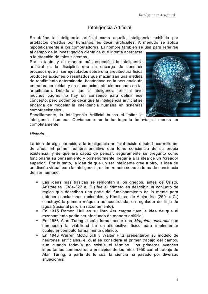 Inteligencia Artificial                                   Inteligencia Artificial  Se define la inteligencia artificial co...