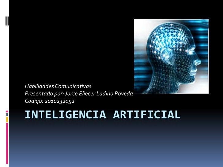 Inteligencia artificial. jorge eliecer ladino poveda