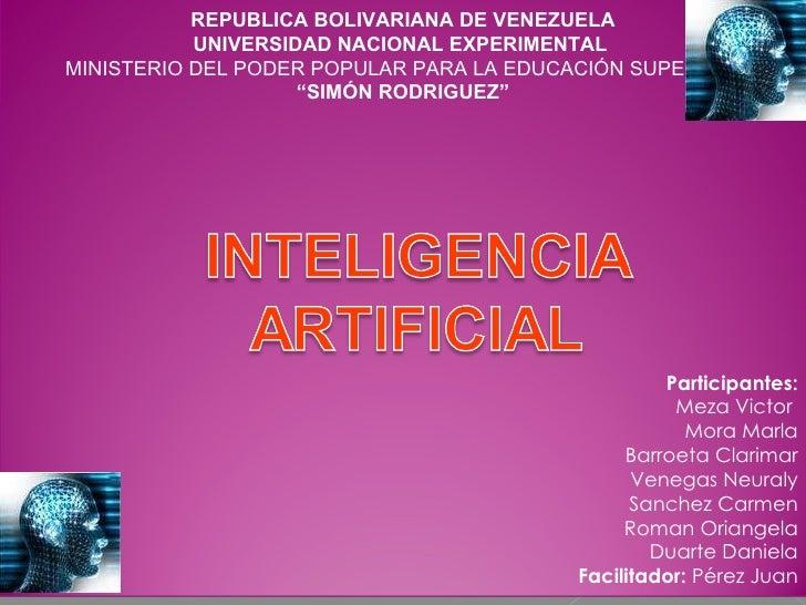 REPUBLICA BOLIVARIANA DE VENEZUELA UNIVERSIDAD NACIONAL EXPERIMENTAL  MINISTERIO DEL PODER POPULAR PARA LA EDUCACIÓN SUPER...