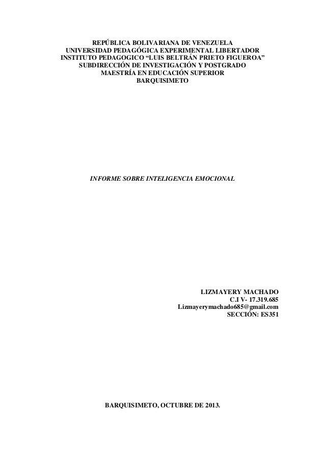 """REPÚBLICA BOLIVARIANA DE VENEZUELA UNIVERSIDAD PEDAGÓGICA EXPERIMENTAL LIBERTADOR INSTITUTO PEDAGOGICO """"LUIS BELTRÁN PRIET..."""
