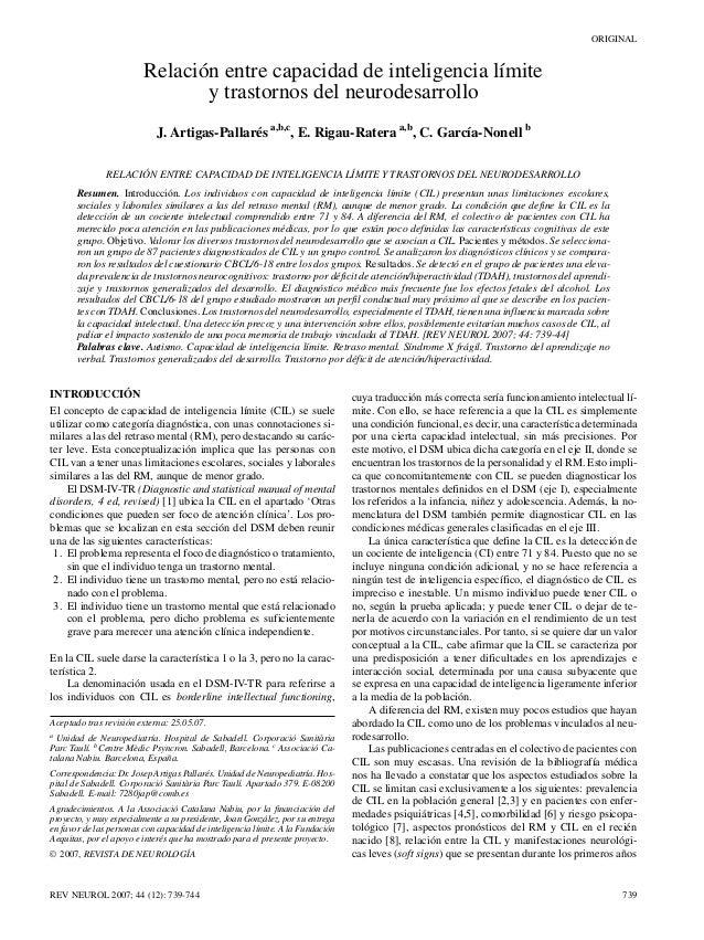 ORIGINAL                         Relación entre capacidad de inteligencia límite                                y trastorn...