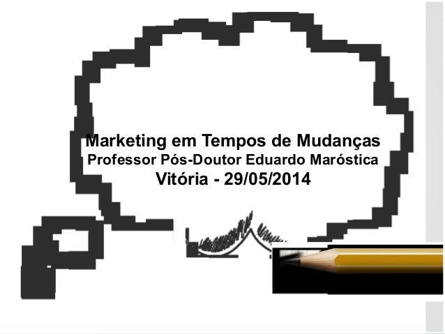 Marketing em Tempos de Mudanças Professor Pós-Doutor Eduardo Maróstica Vitória - 29/05/2014
